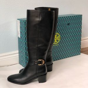 dc2f464dbb8 Tory Burch · Tory Burch black knee high leather boots with heel. NWT